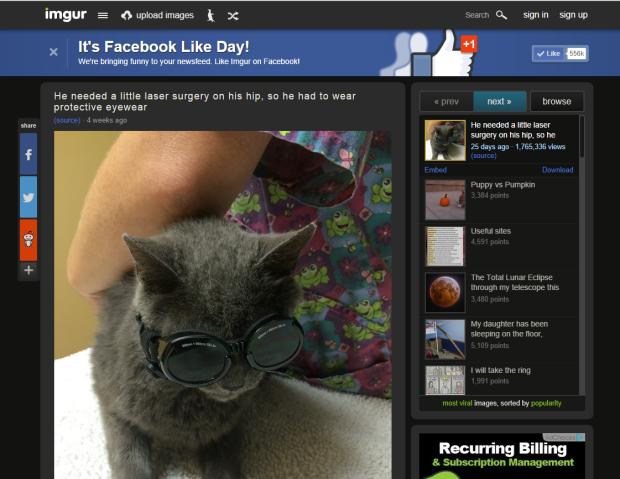 """Il celebre image-hosting site Imgur ha organizzato un """"Facebook Like Day"""" pubblicando un banner sul proprio sito. Utilizzando un buon claim e una ragione convincente per dare il Like Imgur ha trasformato tanti leads in fan su Facebook."""